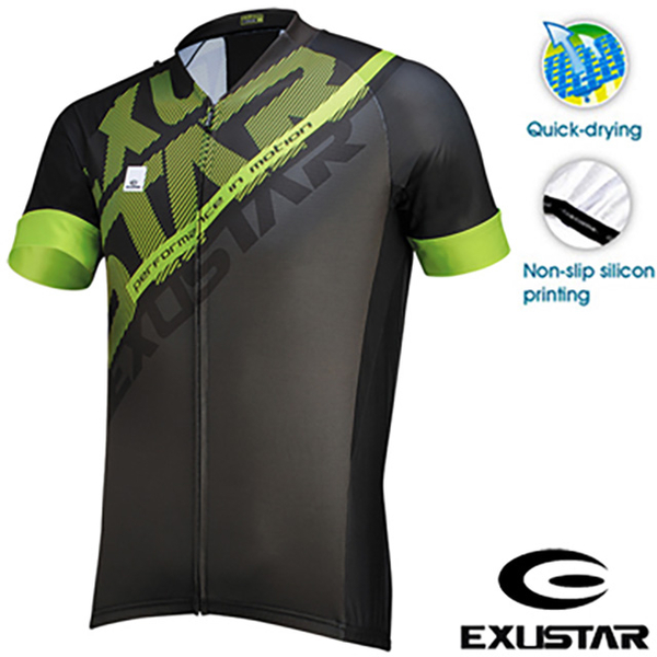 (EXUSTAR )EXUSTAR Bicycle Jersey (Black and Green) ( M )