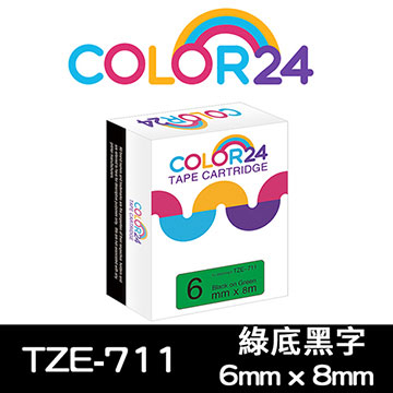 (Color24)[Color24] for Brother TZ-711 / TZe-711 Green Black Label Tag (width 6mm)