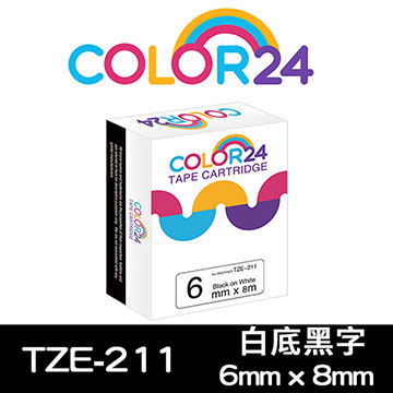 (Color24)[Color24] for Brother TZ-211 / TZe-211 Black and white compatible label tape (width 6mm)