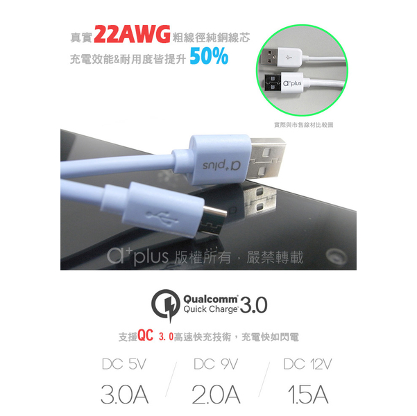 (a+plus)a+plus micro USB Speed ??3A High Current Charging/Transmission Line 1.2M - White