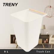 (TRENY)TRENY Japanese style wooden handle trash can - white