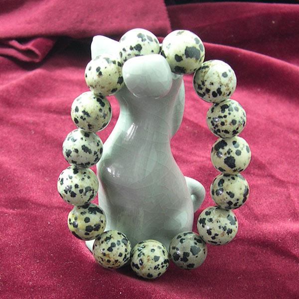 [Ancient] Trolltech margin of Living Dalmatian spots stone bead bracelet (14mm)