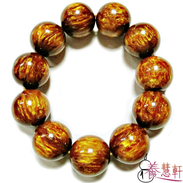 (養慧軒)[Hui Hui Xuan] golden flower amber ball bracelet bracelet (14mm)