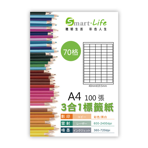 Smart-Life 3-1 White labels A4 100 sheets (70 cells)