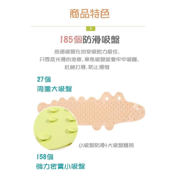 [WIDE VIEW] Crocodile bathroom large suction cup anti-skid pad (D514-1)