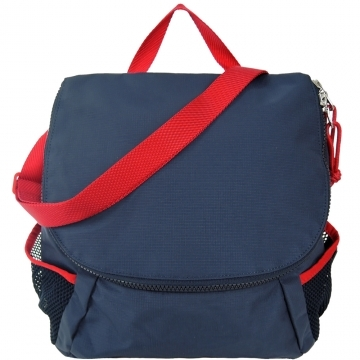 (agnes b)agnes b. clamshell arcuate double zipper nylon messenger bag (blue)