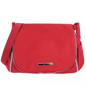 (agnes b)agnes b. VOYAGE bilateral zipper clamshell messenger bag (red)