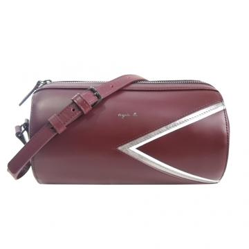 (agnes b)agnes b. logo stamping drums trigonometric leather messenger bag (burgundy / silver side)