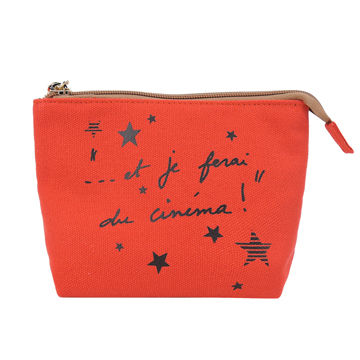 (agnes.b)agnes b. text star pattern canvas cosmetic bag (red)