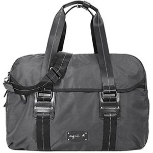 (agnes b)Agnes b. Leather double bar buckle travel bag (black)