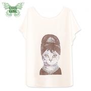 """เสื้อยืดผู้หญิง """"Forest Girl"""" CASUAL GIRL (Grandma Cat)"""