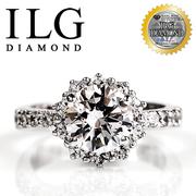 [เครื่องประดับเพชร ILG อันดับต้น ๆ ของอเมริกา] Hearts and Arrows Ring-RI034 เพชรสี่กรงเล็บคลาสสิกระดับเพชรประมาณ 2 กะรัต L