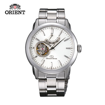 (ORIENT)ORIENT STAR OPEN HEART series of small hollow mechanical watch steel band SDA02002W white -39.0mm