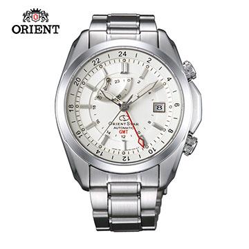 (ORIENT)ORIENT STAR Oriental Star GMT Series Dual Time Zone Sapphire Mechanical Watch Steel Band SDJ00002W White -41.5mm