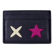 (COACH)Empire COACH cute emoticon pattern litchi leather double-sided business card / ticket clip (black)