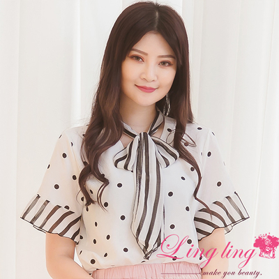 Lingling A3719-03 fresh and sweet neckline tie knot point striped shirt shirt (pure white)