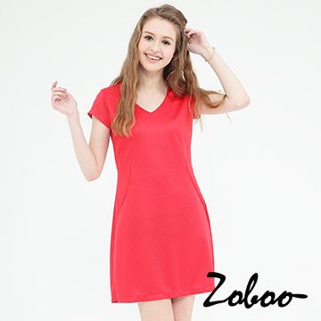 (Zoboo)[] Zoboo minimalist plain V-neck Slim dress (Q5008)