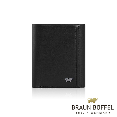 (BRAUN BUFFEL)[BRAUN BUFFEL] German Taurus Android Series 7 Card Tri-fold wallet (Space Black)