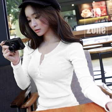 (89zone)89zone Korean version of the texture of cotton and cotton t-shirt