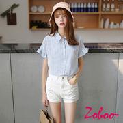 【ZOBOO】小清新條荷葉邊短袖襯衫(OB858)
