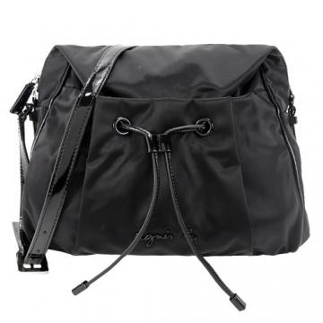 (agnes.b)agnes b. three-dimensional LOGO beam mouth oblique bag (black)