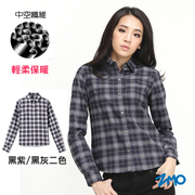 ZMO-เสื้อเชิ้ตแขนยาวลายสก๊อต สำหรับผู้หญิง HG372 - สีเทาดำ / ม่วงดำ