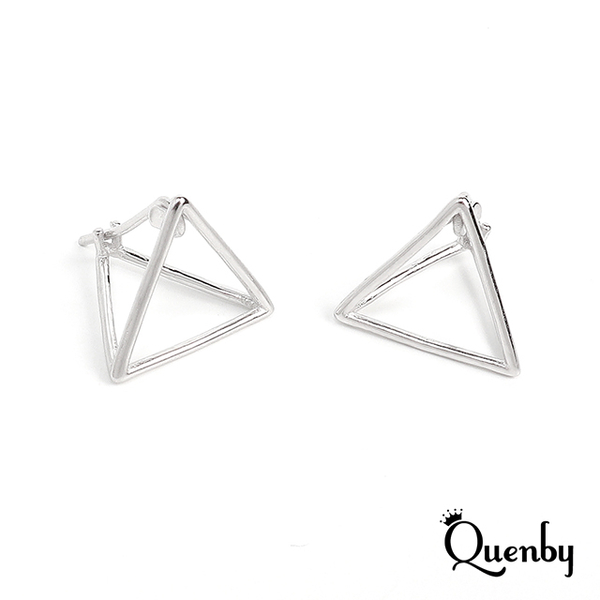 (Quenby)Quenby 925 sterling silver minimalist geometric three-dimensional earrings / ear pins