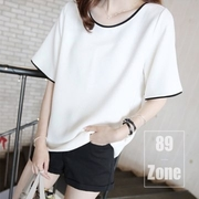 (89 zone)89 zone Korean version of the cool round neck cotton T-shirt