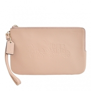 (COACH)COACH carriage stamped lychee double zipper wide clutch (large/khaki camel)