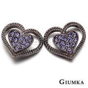 (GIUMKA)[GIUMKA] Heart Love atrial appendage needle earrings fine plated black gold MF275-3