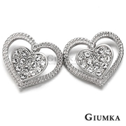 [TAITRA] 【GIUMKA】Double Heart Ear Pin/Earrings White K Gold Plating MF275-1