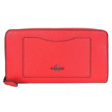 (COACH)COACH carriage LOGO plain scratch-resistant leather zipper long clip (poppy red)