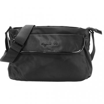 (agnes.b)agnes b. Hollow Pendant front flip diagonal bag (small / black)