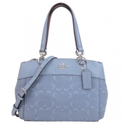 (COACH)COACH BROOKE Embossed LOGO Embossed Leather Three-layer Shoulder Crossbody Bag (Small/Grey Blue)