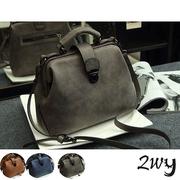 [2WY] กระเป๋าหนังสไตล์กระเป๋าคุณหมอ (สีเทา / สีฟ้า / สีน้ำตาล)