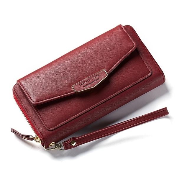 Abigail-Wrist Strap Long Clutch Clutch 8908 (Wine Red)