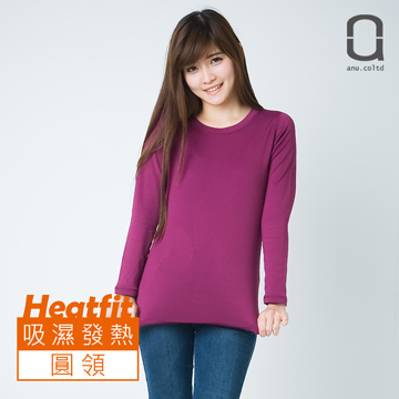 (ANU)[ANU] HEATFIT female models round neck bristle warm functional clothing purple