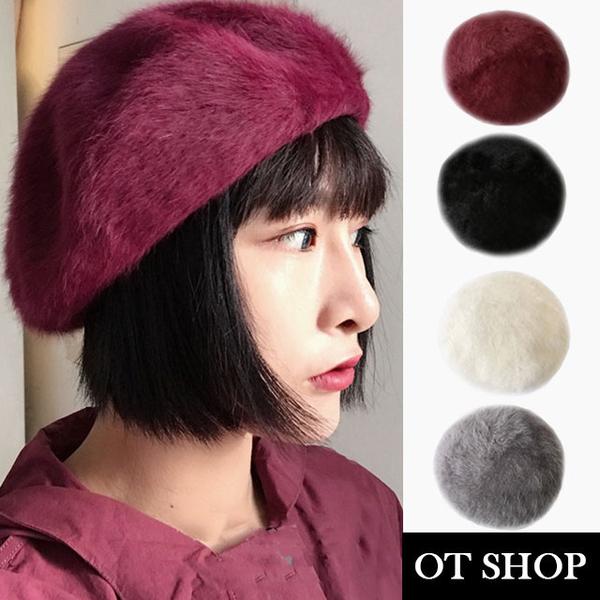 หมวกเบเร่ต์ขนปุย C1896 (สีดำ/ขาว/เทา/ไวน์แดง)