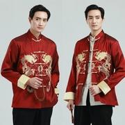 ชุดจีนชาย ปักดิ้นลายมังกร สวยหรู  สีแดง กระดุมหน้า ผ้าแพรนิ่ม ใส่สบาย