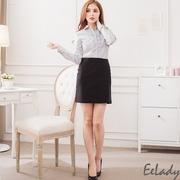 [EE-LADY] Tai system OL waist fold A word suit skirt - black