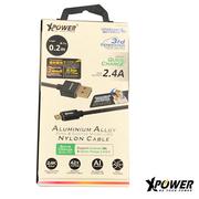 (XPOWER) Xpower รุ่นที่สาม 0.2m อลูมิเนียมไนลอนสายชาร์จ USB Micro Micro - สีดำ (XPAA3G02BK)