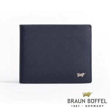 (BRAUN BUFFEL)[BRAUN BUFFEL] German small Taurus HOMME-M gentleman series 5 card transparent pane wallet (dark blue)
