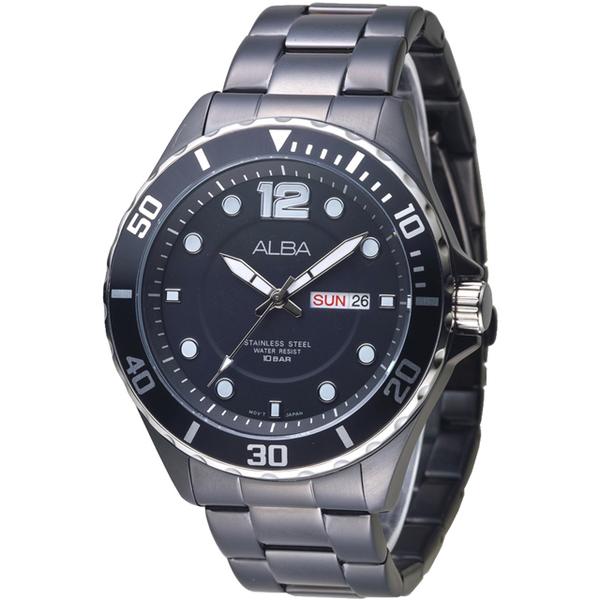 (ALBA)ALBA cool black wind 蚝 style frame design men's watch - all IP black (AV3519X1)