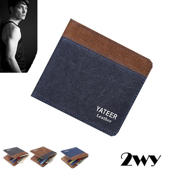 (2WY) กระเป๋าสตางค์ใบสั้น ผ้าแคนวาส