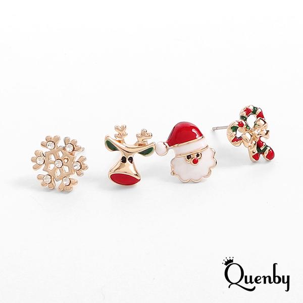 Quenby ต่างหูคอลเลกชันคริสต์มาส 4 ชิ้น ต่างหูหมุดเงิน ต่างหูรูปซานต้า กวางเรนเดียร์