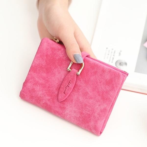 Abigail-Retro Scrub กระเป๋าใส่นามบัตรสั้น 8601 (กุหลาบแดง)