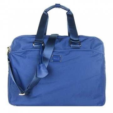 (agnes b)Agnes b. Parallel bars metal LOGO nylon travel bag (large / blue)