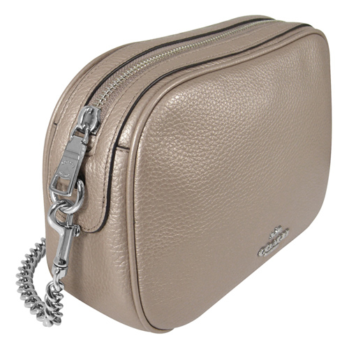 (COACH)Empire COACH new lychee pattern full leather gold chain diagonal back camera bag (Champagne gold)