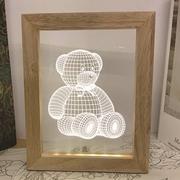 創意居家LED床頭燈現代簡約裝飾擺設兒童情境氣氛燈★實木3D立體視覺相框小夜燈★動物系列-泰迪熊娃娃