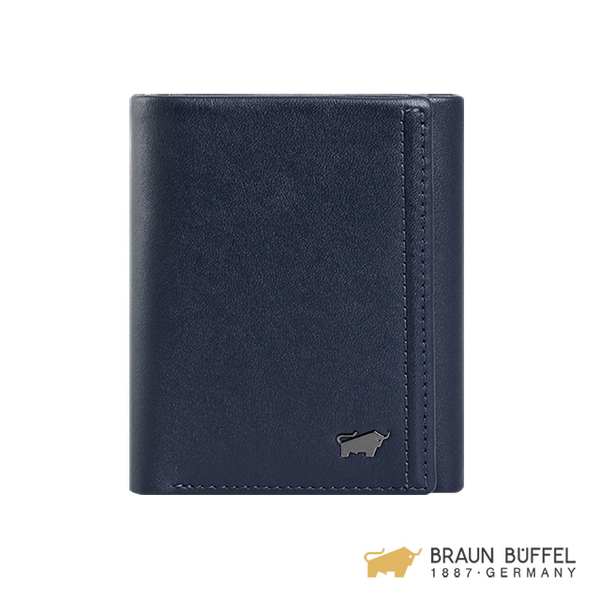(Braun Buffel)[BRAUN BUFFEL] Android Series 7 Card Tri-Fold Wallet - Navy Blue BF312-311-MAR